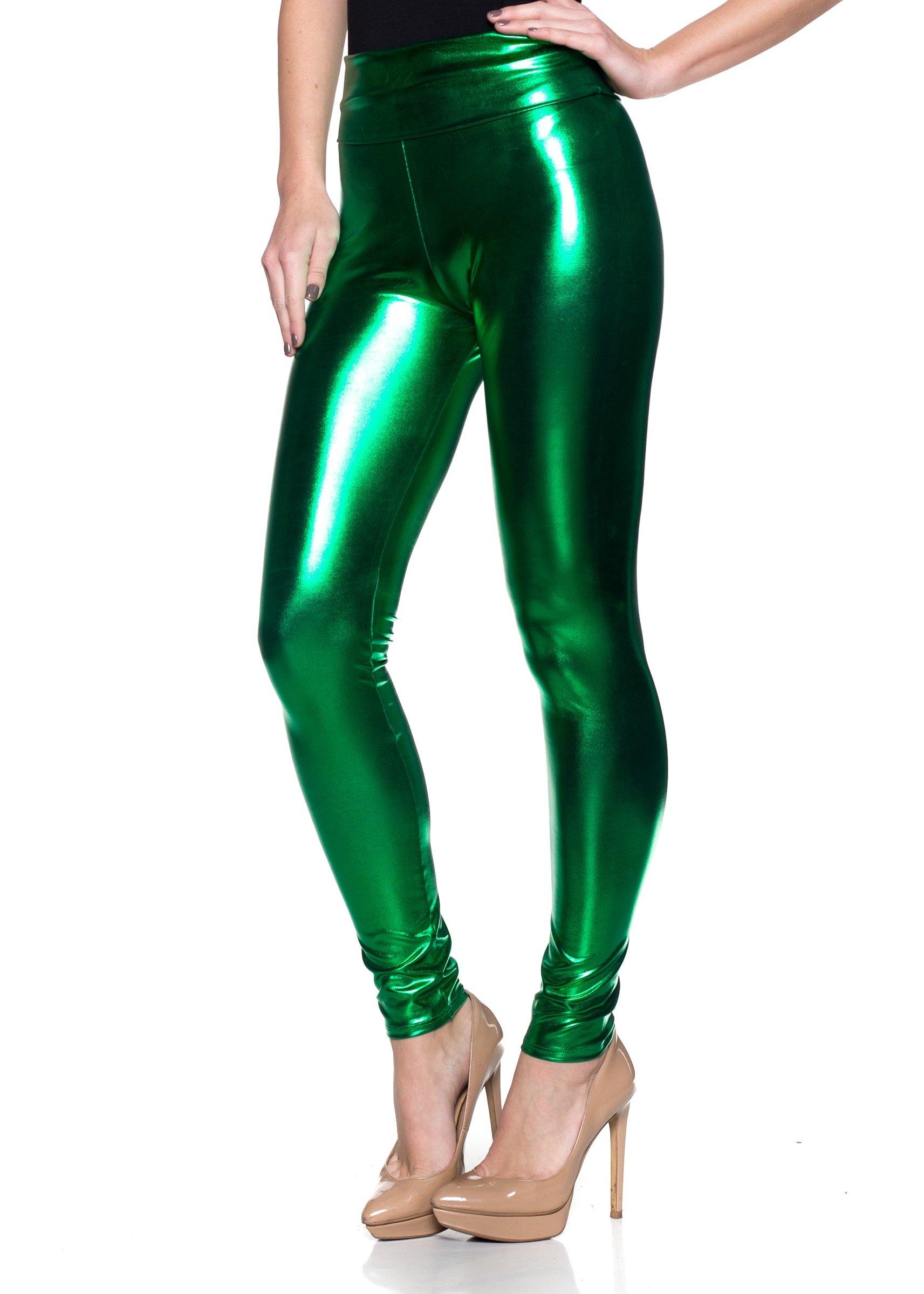 J2 Love Women's Junior Plus Faux Leather High Waist Leggings, 2X, Green