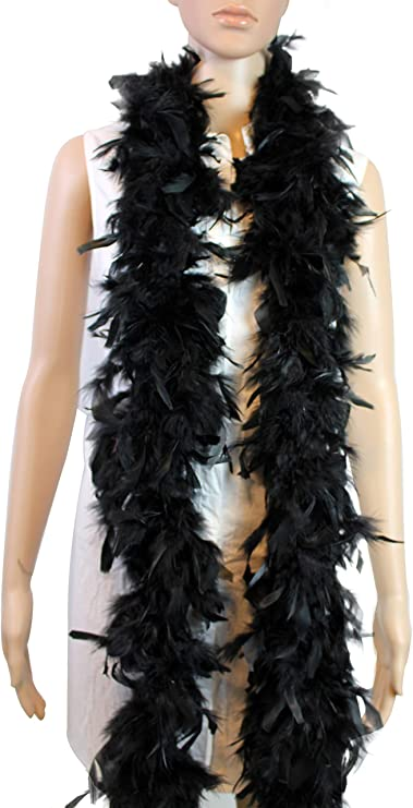 White w//Black Wedding 100 Gram 2 Yard Long Chandelle Feather Boa Over 10 Colors Great for Party Costume
