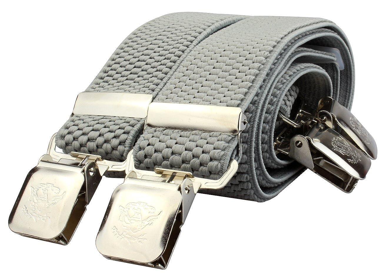 Bretelles pour Femmes/Hommes avec 4 pinces solidess et 40mm de largeur dans 22 couleurs noir,rouge,bleu,orange, olive uvm