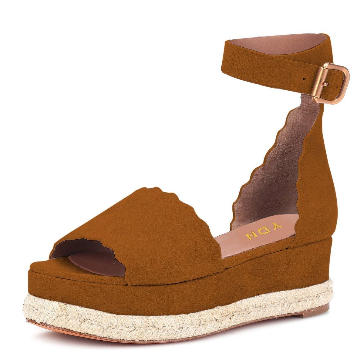 YDN Women Espadrille Peep Toe Ankle Straps Wedge Sandals Low Heels Platform Shoes with Buckle B07G2JHNB3 12 M US|Brown