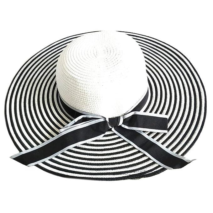 PREMYO Pamela Mujer con Rayas en Color Negro y Blanco. Elegante Sombrero de  Paja Bicolor c1196282a0b9