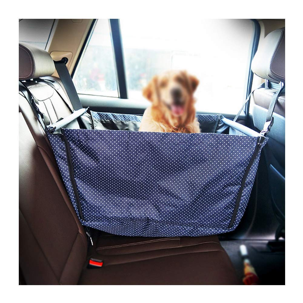 Dark bluee Strimm Zipper Dog Car Back Rear Seat Booster Car Truck SUV Hammock for Small Medium Dogs Up to 30 lbs