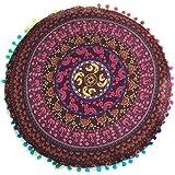 Indexp Round Pillowcase Indian Bohemian Cushions Mandala Floor Pillows Cover (Wine)