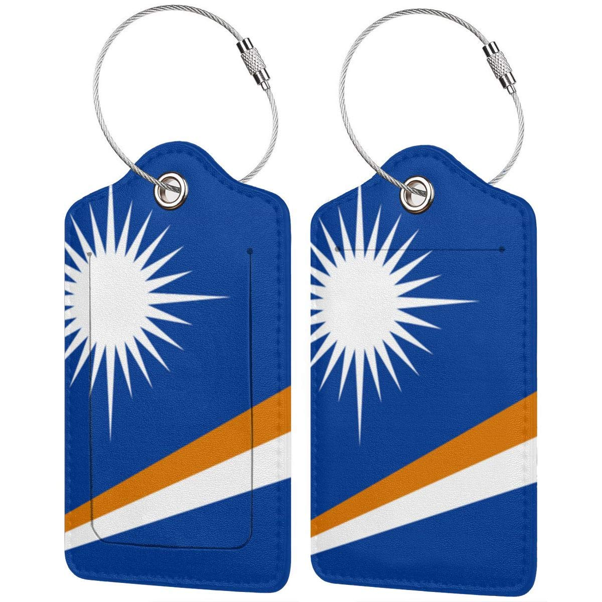 Flag Of The Marshall Islands Leather Luggage Tags Personalized Flexible Custom Travel Tags With Privacy Flap