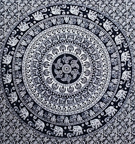 Handicrunch Wall Art Mandala Hippie Tapestry Full Size Sheets Wall Cotton Bohemian Tapestry 92X82