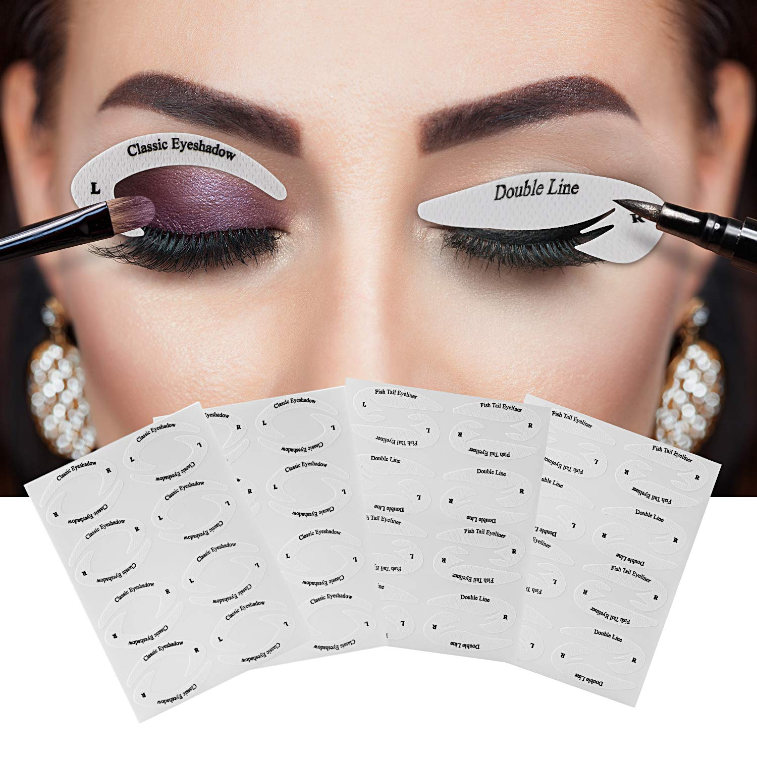 New Eye Makeup Fast Eyeliner & Eyeshadow Non-Woven Stencil Stickers, 6 Styles for Eyeliner + 4 Styles for Eyeshadow Set Profession Classic Quickly Makeup Guide Template Cosmetic Tools Torlam