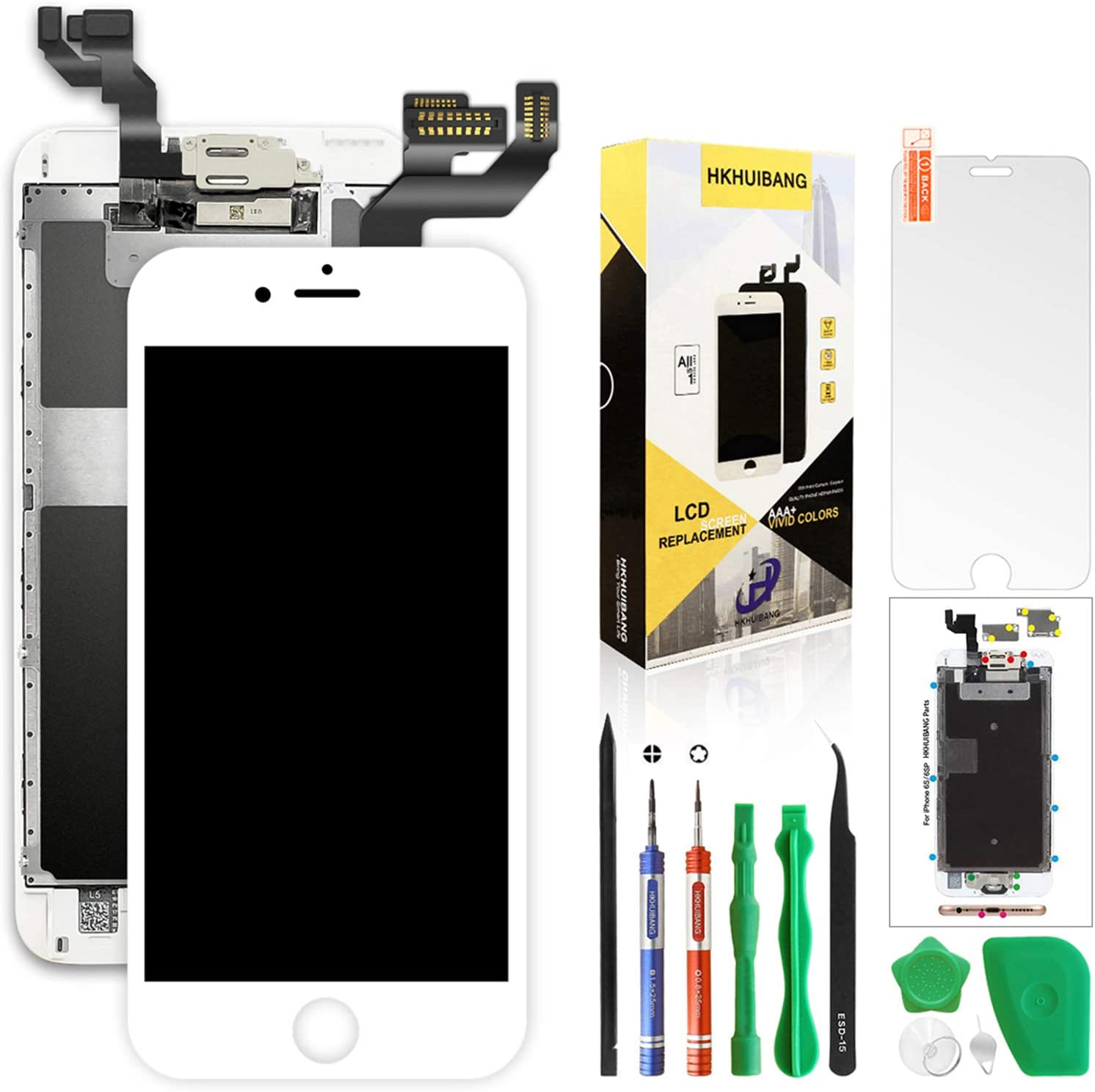 Screen Replacement for iPhone 6S Plus White 5.5'',H HKHUIBANG Pre-Assembled LCD 3D Touch Digitizer Complete Display Full Assembly with OEM Front Camera Proximity Sensor Earpiece Speaker Repair Tool