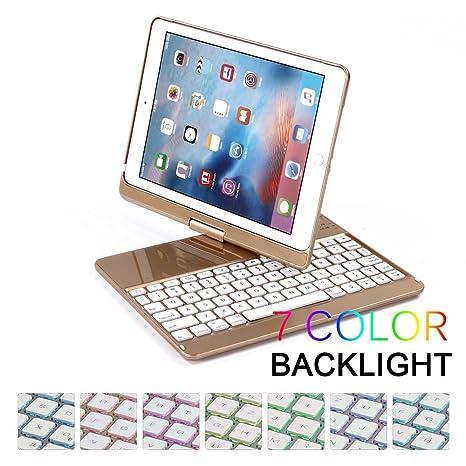 2017 iPad 9.7 Funda para Teclado Bluetooth, Teclado retroiluminado de 7 Colores Funda Folio Smart