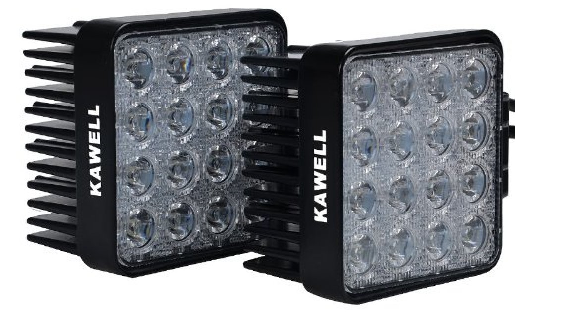 Kawell K2-2148 48W 60 Degree 4.3-Inch Square LED Flood Light with Mounting Brackets Kit, Pack of 2