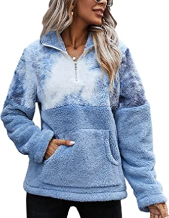 LIVACASA Mujer Sudadera Polar Sudadera Mujer Otoño Cuarto de Zip Caliente Flexible Invierno Hoodie Casual Moda Amplio Chaqueta S-XL