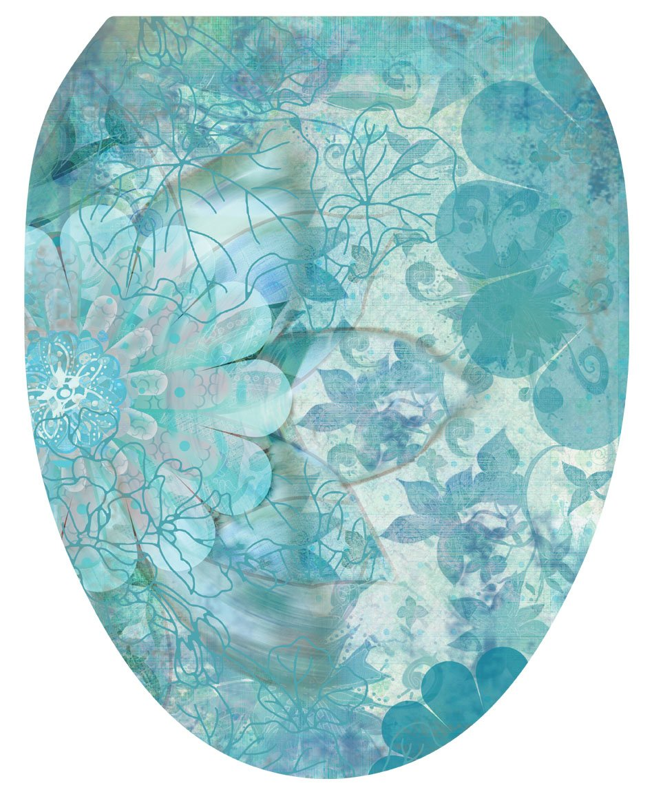 Toilet Tattoos, Toilet Seat Cover Decal, Blue Floral Haze, Size Elongated by Toilet Tattoos