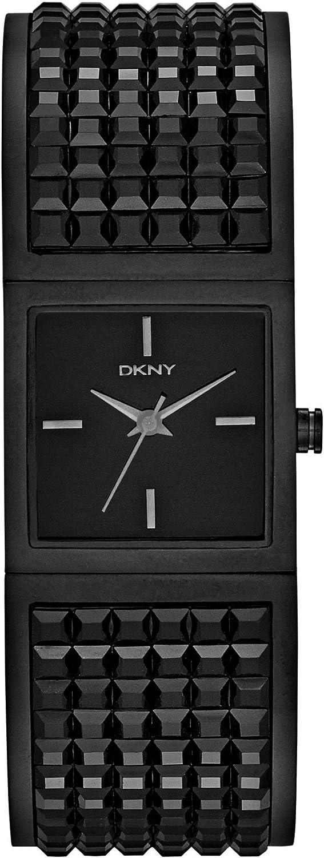 DKNY - Reloj Analógico de Cuarzo para Mujer, Correa de Acero Inoxidable Chapado Color Negro