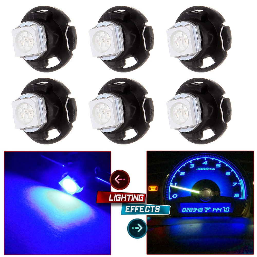cciyu 6 Pack T4.7 Neo Wedge A/C Climate Heater Control Light Instrument Panel Gauge Cluster Dashboard LED Bulb(blue)
