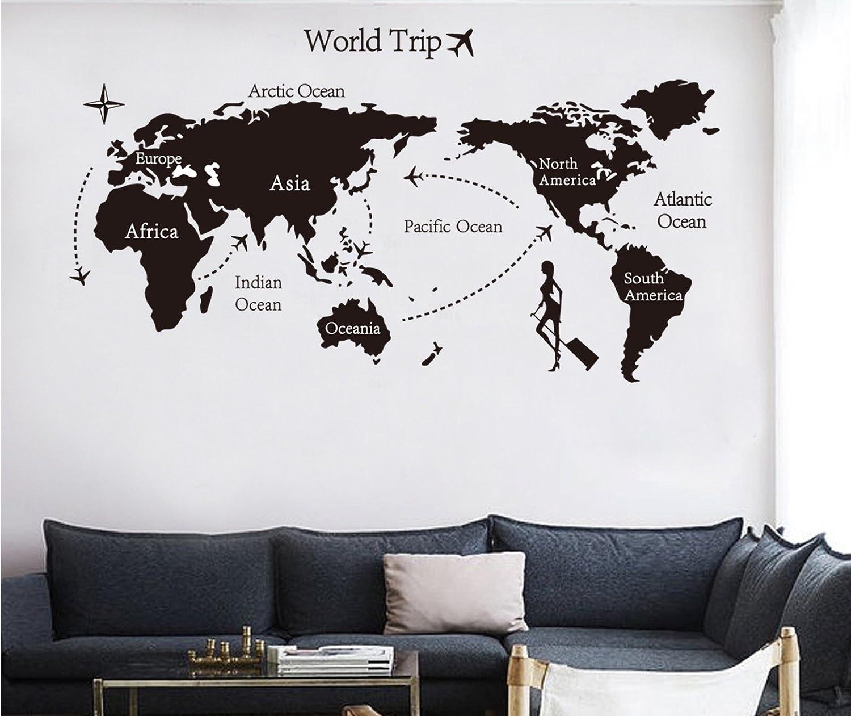 Pegatinas pared Mapa del Mundo Negro pared adhesivo de pared ...