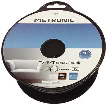 Metronic 419025 - Bobina de cable coaxial TV/satélite de 25 m, negro