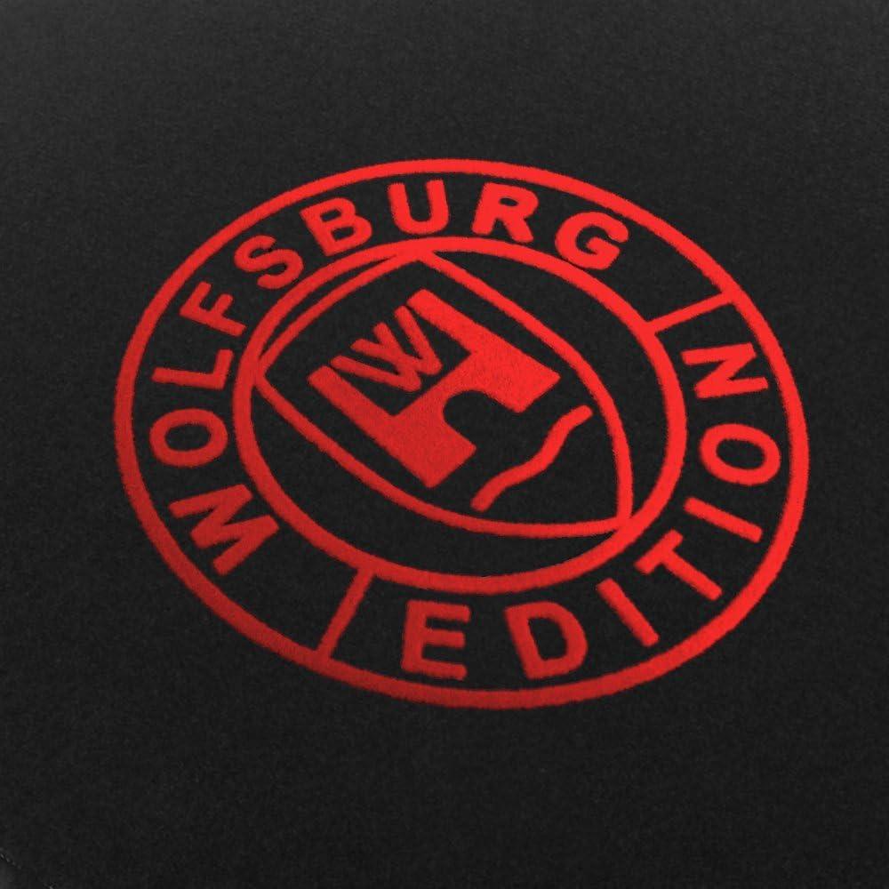 Autoteppich Stylers Passform Fußmatten Aus Nadelfilz Schwarz Mit Druck Wolfsburg Edition Q100 Wob 103 Vw 012 Auto