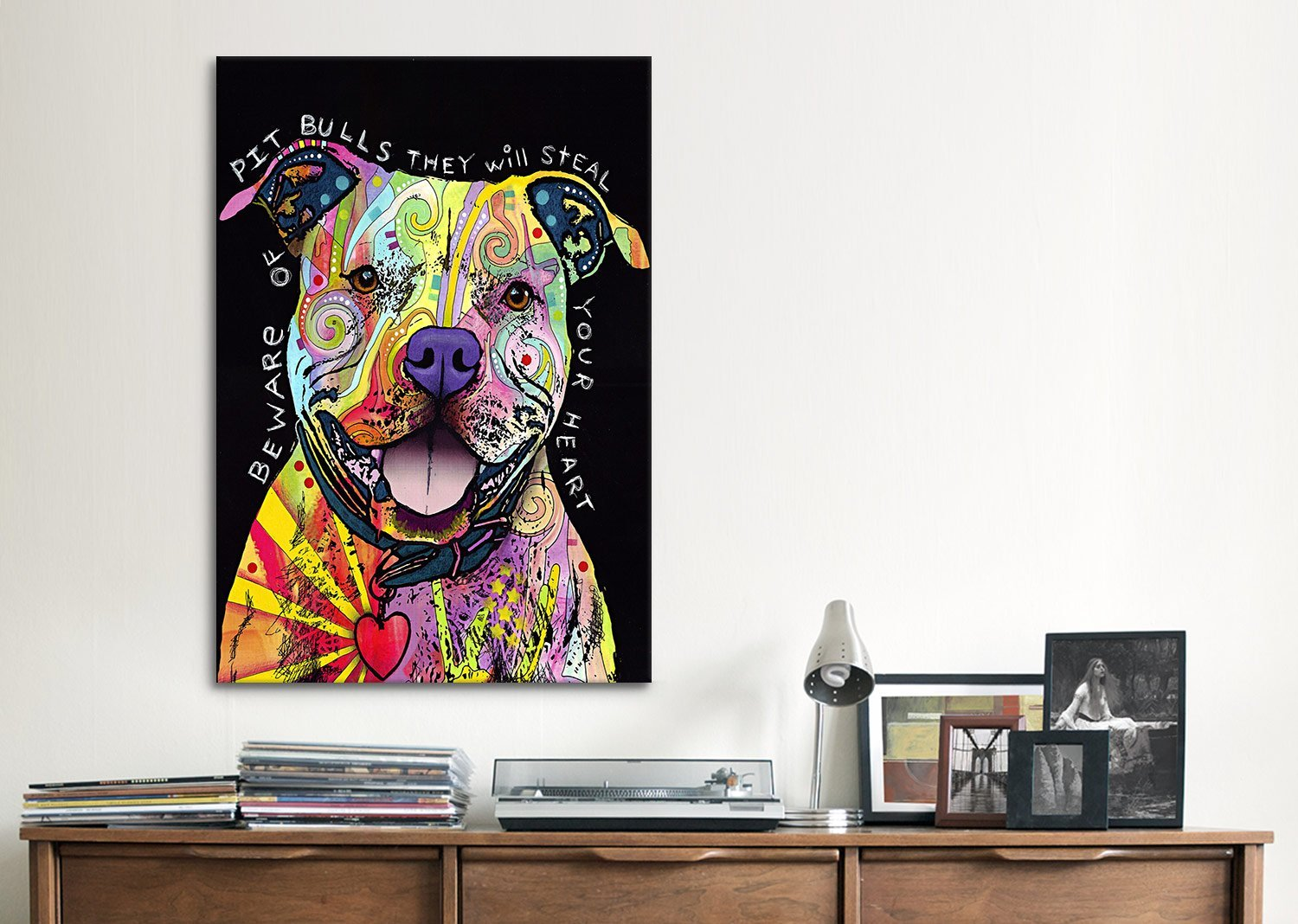 19 by 13-Inch 19x13x4231 iCanvasART Beware of Pit Bulls by Dean Russo Canvas Art Print