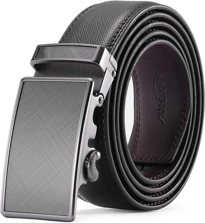 Men Navy Blue Leather Automatic Ratchet Click Lock Belt Chrome Eagle Buckle