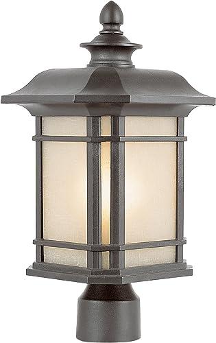 Trans Globe Lighting 5823 RT Outdoor San Miguel 13.5 Postmount Lantern, Rust
