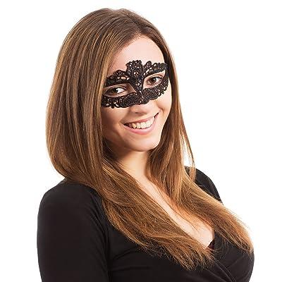 Bristol Novelty EM096 Ribbon Tie Lace Eye Mask, Womens, Multi-Colour, One Size: Toys & Games