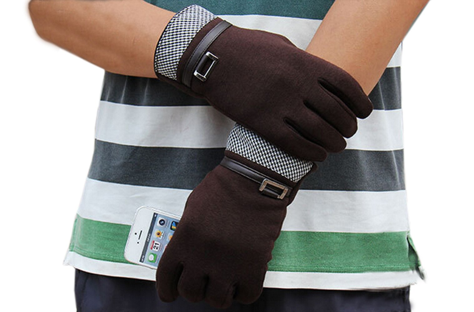 Olyer Men's Mirco Velvet Gloves Warmer Gloves With Touch Screen Finger Tip (Coffee) by Olyer (Image #4)