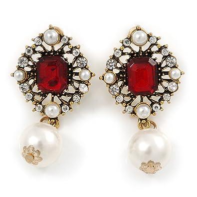 4b2262cc93cfee Vintage inspiriert transparent rot Kristall Perle