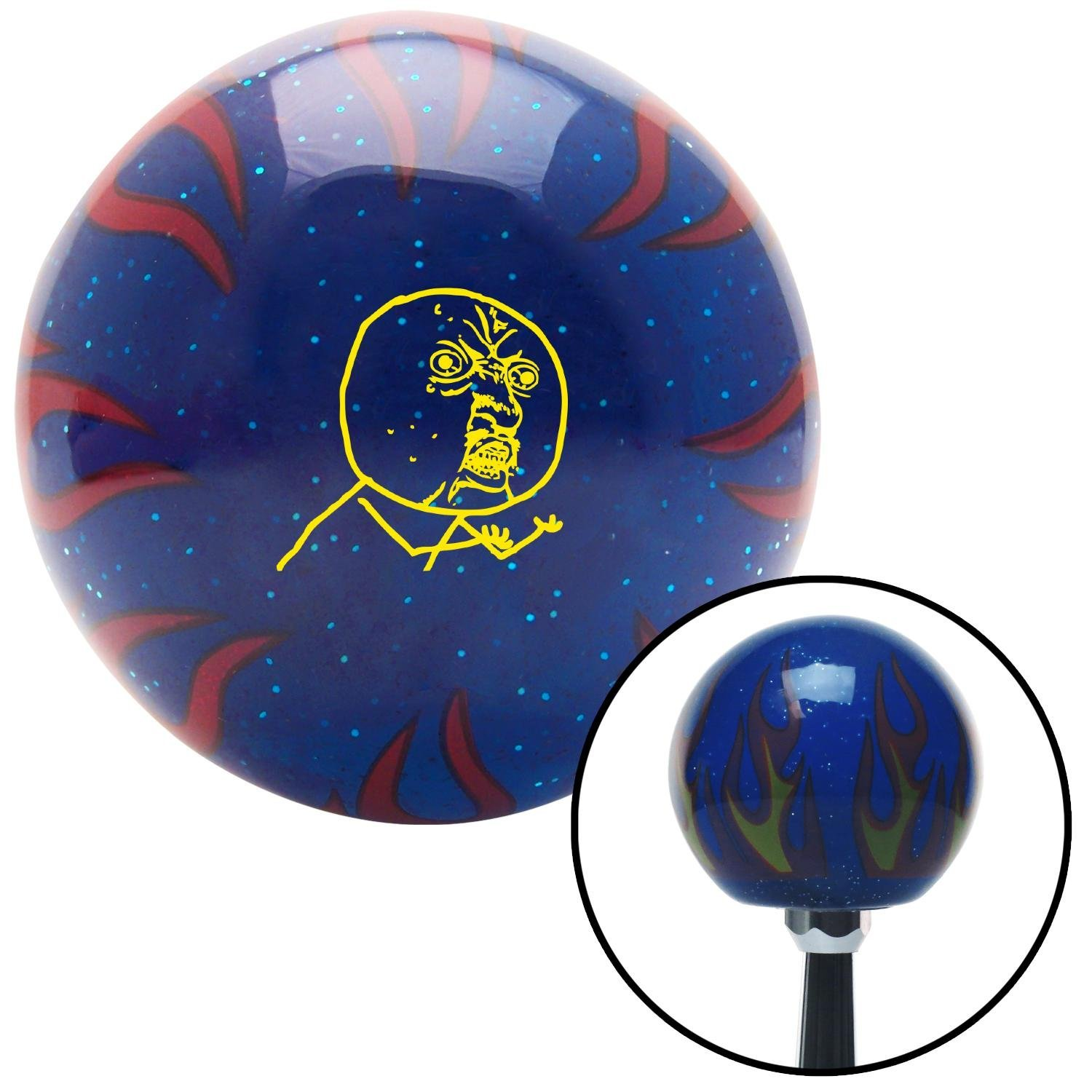 Yellow Yuno Blue Flame Metal Flake with M16 x 1.5 Insert American Shifter 297830 Shift Knob