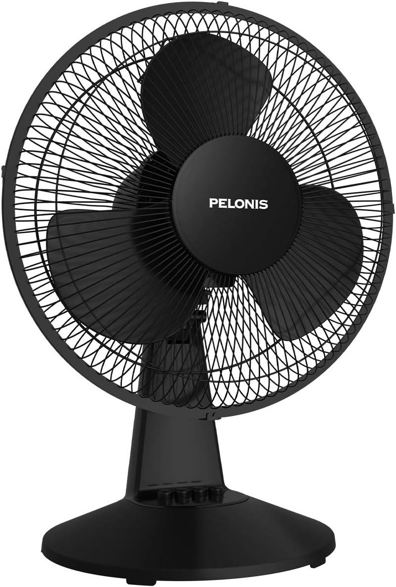 PELONIS PFT30T2ABB-V Portable 3-Speed 12-Inch Oscillating Table Air Circulation Fan, Black, 2020 New Model