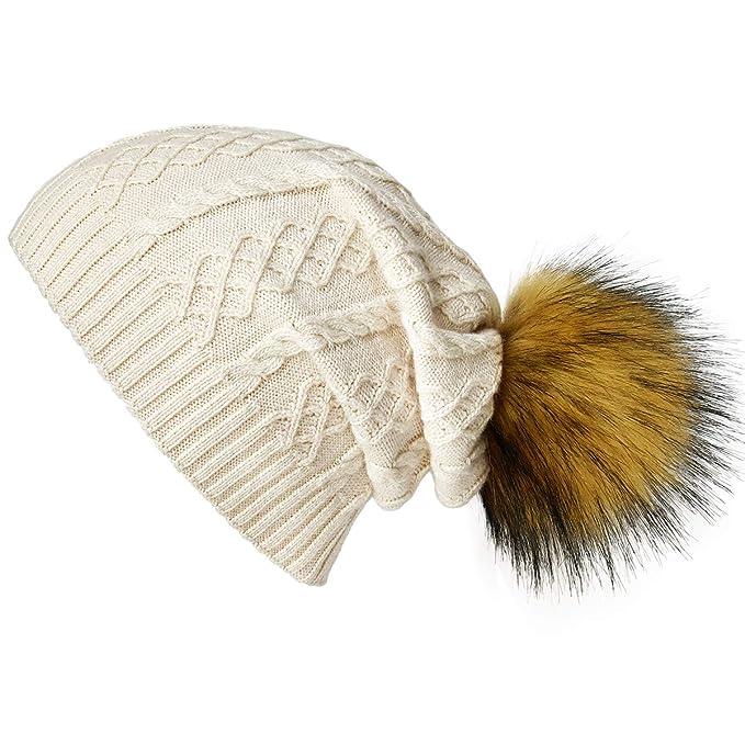 e82eb3c29cfec SOMALER Winter Fur Pom Pom Beanie for Women Wool Knit Slouchy Beanie Hats  Ski Caps