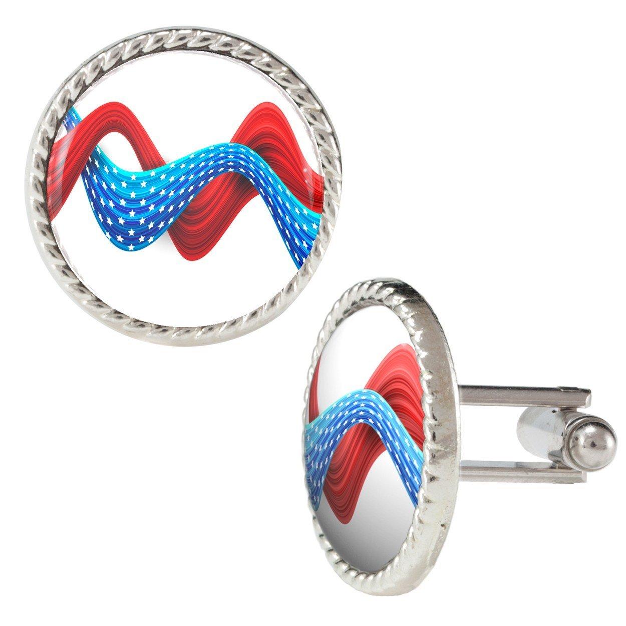 Cintas de color rojo y azul con estrellas ilustración en color blanco Gemelos: Amazon.es: Joyería