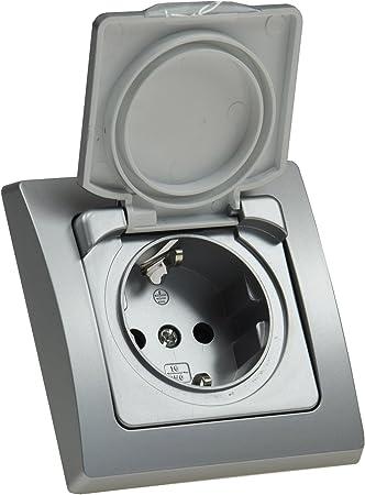 Delphi Ip44 Steckdose Unterputz Feuchtraum Steckdose Mit Schutz Deckel Gummidichtung Grau Silber Amazon De Baumarkt