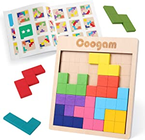 Coogam Wooden Puzzle Pattern Blocks Brain Teasers Game with 60 Challenges, 3D Russian Building Toy Wood Tangram Shape Jigsaw Puzzles Montessori STEM Educational Toys Gift for Kids Adults