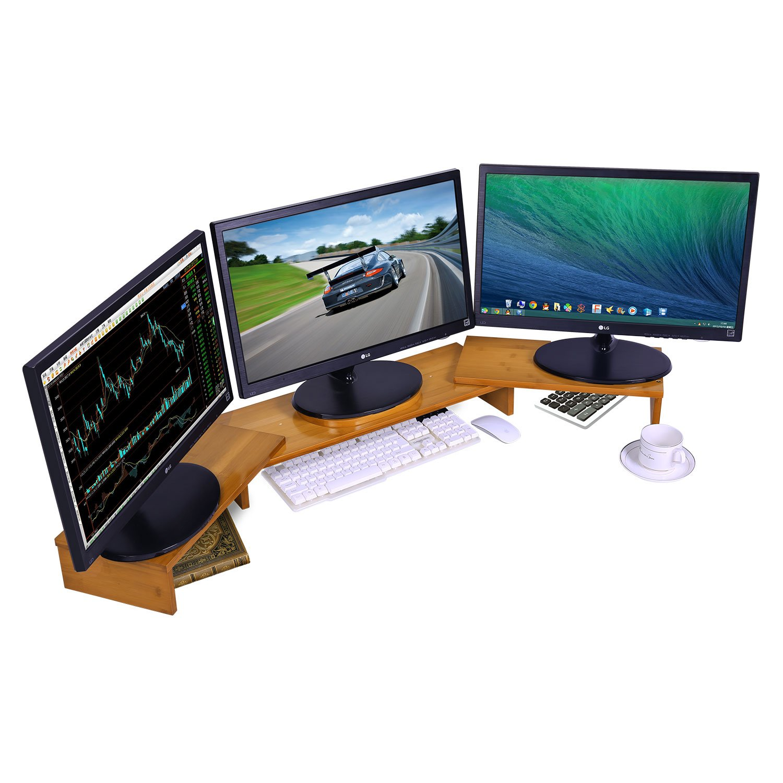 Triple Monitor Stand Riser Desktop 3 Shelf Bamboo Wood Computer Riser Screen Holder with Adjustable Lenth Angle Corner Dual PC Shelf Desktop Organizer with Keyboard Storage (42-50 inch)