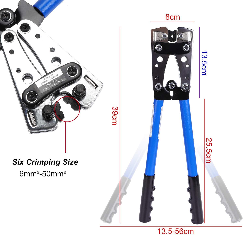 8 alicate de engarzado de cable de alambre para 10 1//0 AWG Corte y engarzado de cable HSEAMALL 2PCS 6-50mm/² Herramienta de engarzado de terminal de alambre con cortador de cable 4 6 2