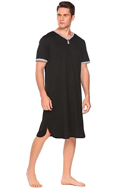 Adidome Men V Neck Short Sleeve Contrast Color Loose Sleepshirt Nightshirt  With Pocket 4b709a779