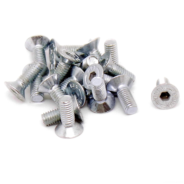 Bullone/vite svasata, con testa esagonale, M6 da 6 mm x 16 mm, in acciaio, confezione da 20 M6da 6 mm x 16mm Singularity Supplies Ltd