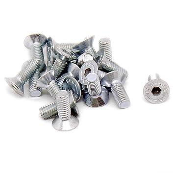 Pack of 20 Bolt 6mm x 10mm M6 Hex Socket Countersunk Machine Screw - Steel