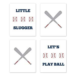 Sweet Jojo Designs Red, White, Blue and Grey Wall Art Prints Room Decor for Baby, Nursery, and Kids for Baseball Patch Sports Collection - Set of 4 - Play Ball Little Slugger