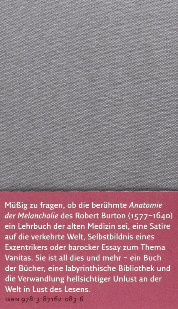Die Anatomie der Melancholie Handbibliothek Dieterich: Amazon.de ...