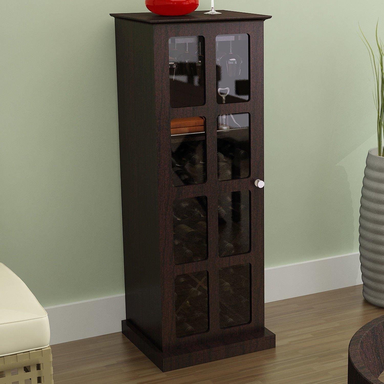 24 Wine Bottle Wine Cabinet Cupboard in Espresso Storage 9 Glasses
