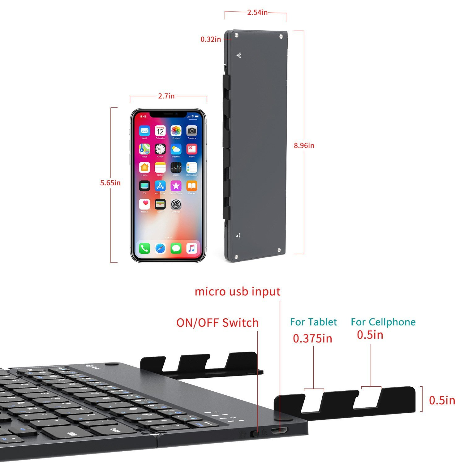 Foldable Bluetooth Keyboard, Jelly Comb B028 Portable Folding Rechargeable Bluetooth Keyboard with Built-in Stand for Android iOS Tablet Smartphone Windows and More-(Dark Grey) by Jelly Comb (Image #9)