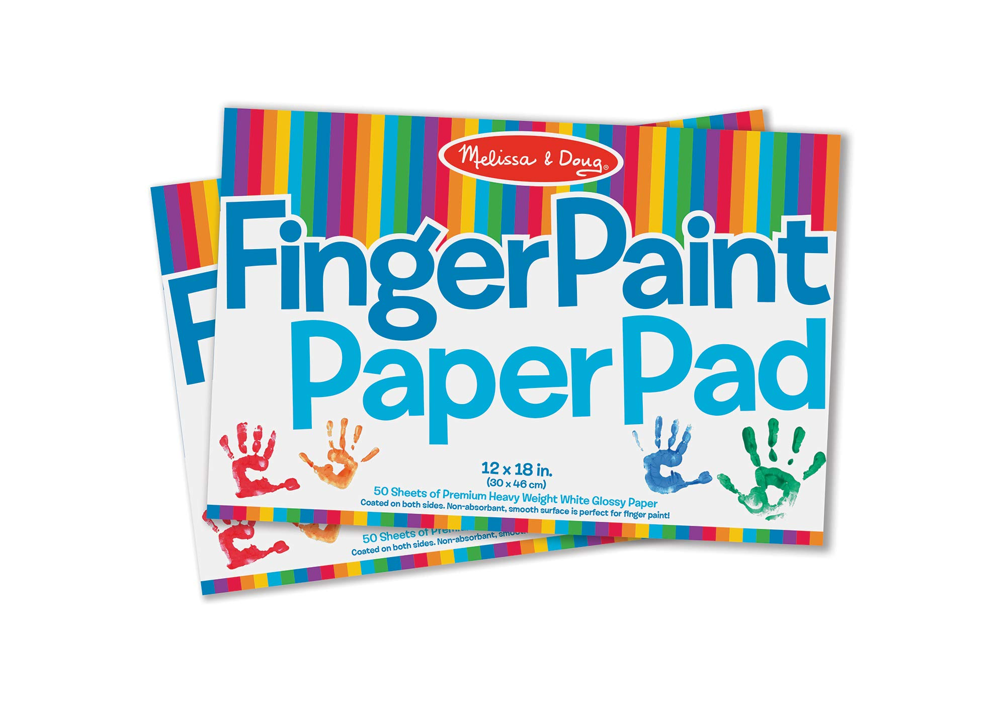 Melissa & Doug Finger-Paint Paper Pad 2-Pack (Arts & Crafts, Top-Bound Pads, Glossy Paper, Nonabsorbent, 50 Sheets Each, 17'' H x 12'' W x 0.25'' L) by Melissa & Doug