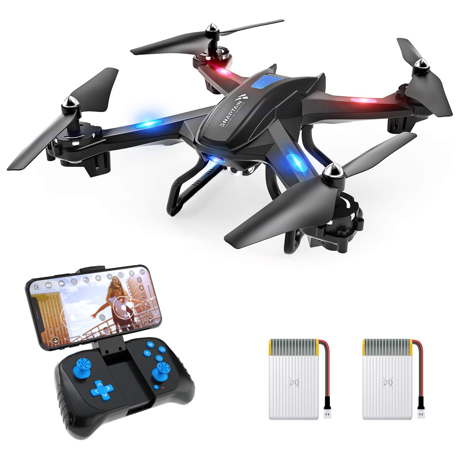 SNAPTAIN S5C WiFi FPV Drone with 720P HD Camera, Voice Control, Gesture Control RC Quadcopter for Beginners with Altitude Hold, Gravity Sensor, RTF One Key Take Off/Landing, Compatible w/VR Headset by SNAPTAIN