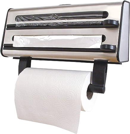 alluminio e carta da cucina Dispenser triplo per rulli a parete per pellicola