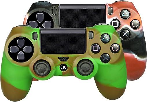 SMARDY Bundle - 2X Funda Cubierta de Silicona Rojo/Negro + Oliva/Marrón Compatible con PS4 Playstation 4 Controlador Mandos: Amazon.es: Electrónica