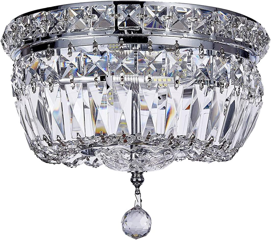 New Galaxy 2-Light Chrome Finish Crystal Shade Chandelier Flushmount Ceiling Fixture