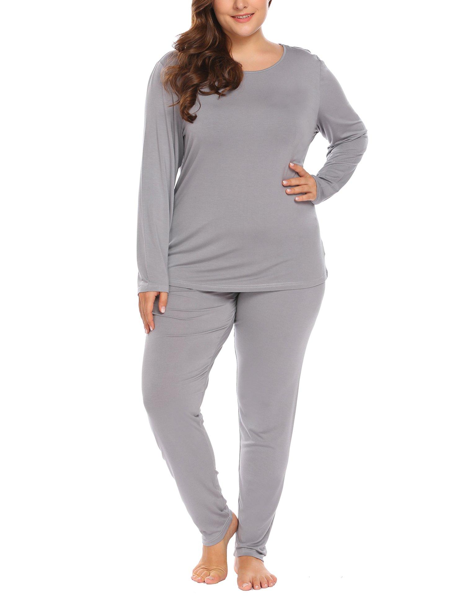 Women's Plus Size Thermal Long Johns Sets 2 Pcs Underwear Top & Bottom Pajama XL-10XL