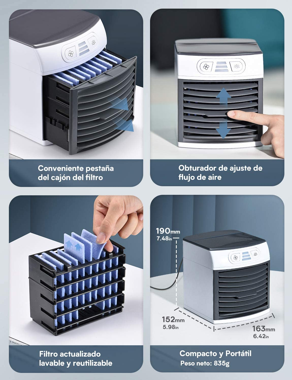 8 Luces para hogar y Oficina Ventilador USB,Enfriador evaporativo Compacto con Tanque de Agua de 500 ml humidificador 3 velocidades Enfriador de Aire en Mesa Mini Aire Acondicionado Port/átil