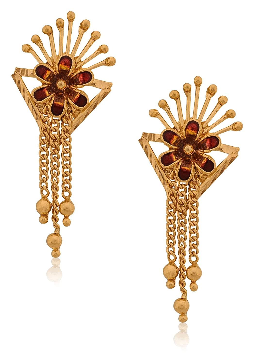 Buy Senco Gold 22k Yellow Gold Drop Earrings Online at Low Prices ...