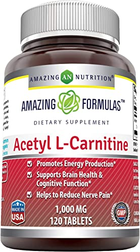 Amazing Nutrition Amazing Formulas Acetyl L-Carnitine For Energy Production, Supports Brain Health Cognitive Function, Helps Reduce Nerve Pain, Non-GMO, Gluten Free , 1000 Mg 120 Tablets
